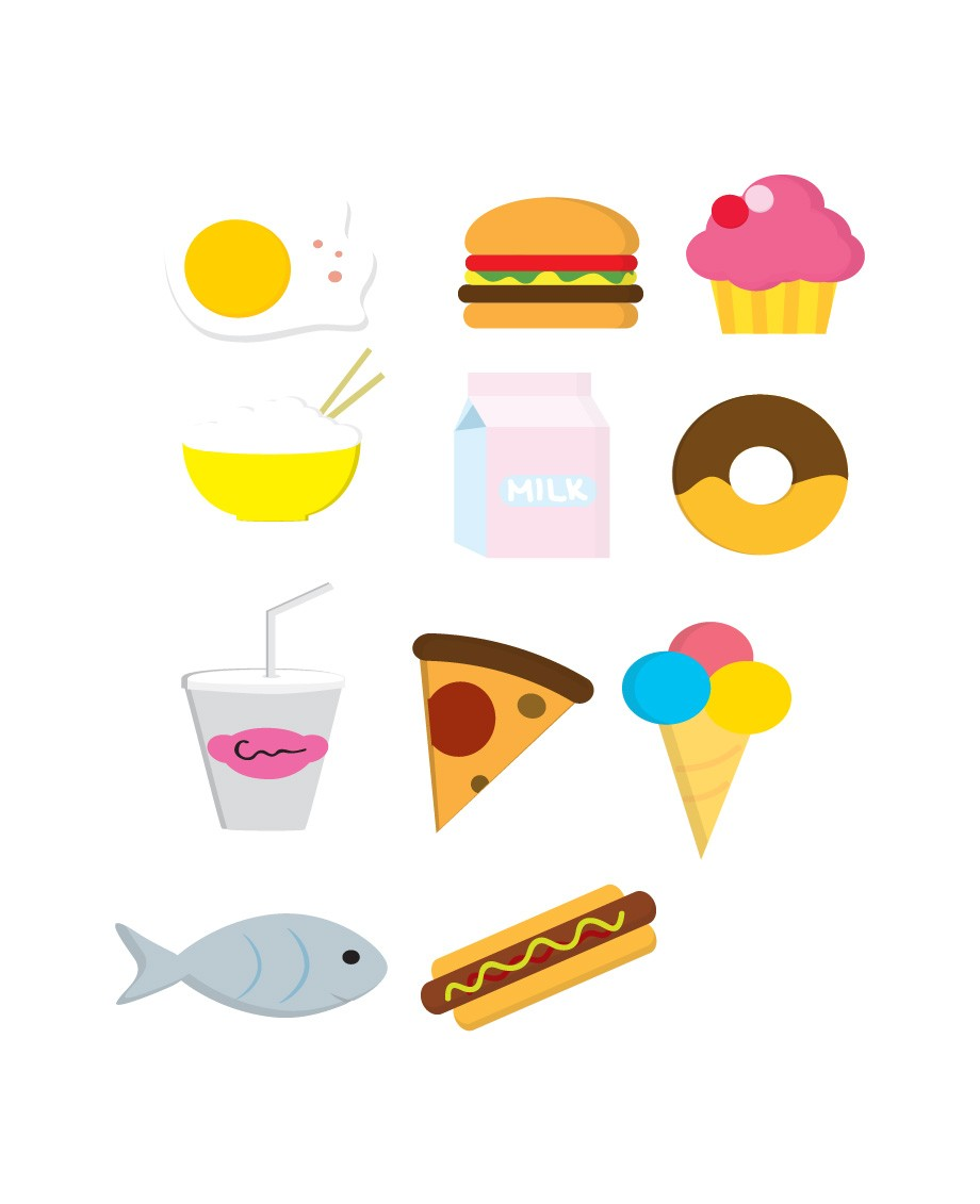 food icons vector pack vector with cake ice cream and pizza