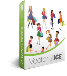 Shopping Girls Vector Pack