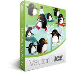 Winter Penguins Vector Pack