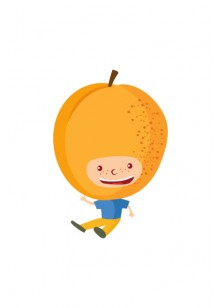 Fruit Kids Vector Pack | Kid Apricot Vector Image | VectorVice