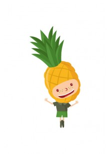 Fruit Kids Vector Pack | Kid Pineapple Vector Image | VectorVice