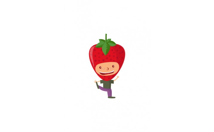 Fruit Kids Vector Pack | Kid Strawberry Vector Image | VectorVice