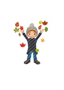 kid-playing-with-leaves-vector-image